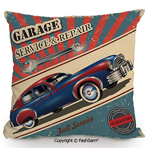 FashSam Polyester Throw Pillow Cushion Vintage Garage Service and Repair Mechanic Fifties Aged Poster Design Retro Decorative for Sofa Bedroom Car Decorate(16