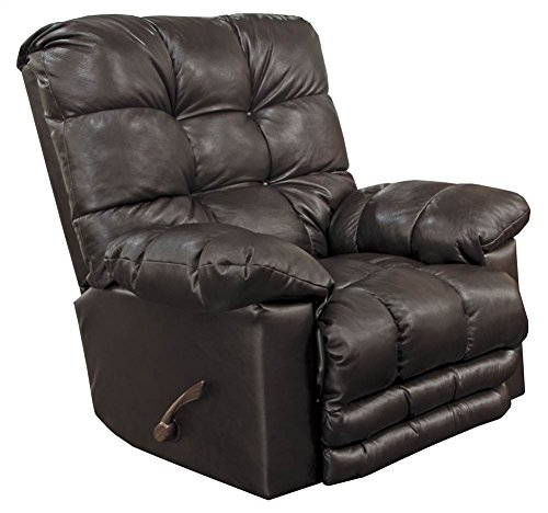 Catnapper Top Grain Leather Touch Rocker Recliner in Chocolate