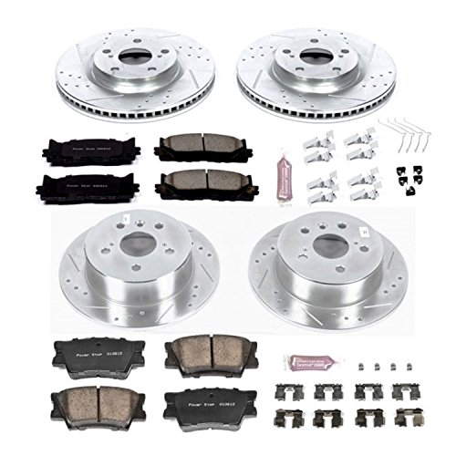 (Power Stop K6480 Front and Rear Z23 Evolution Brake Kit with Drilled/Slotted Rotors and Ceramic Brake Pads)