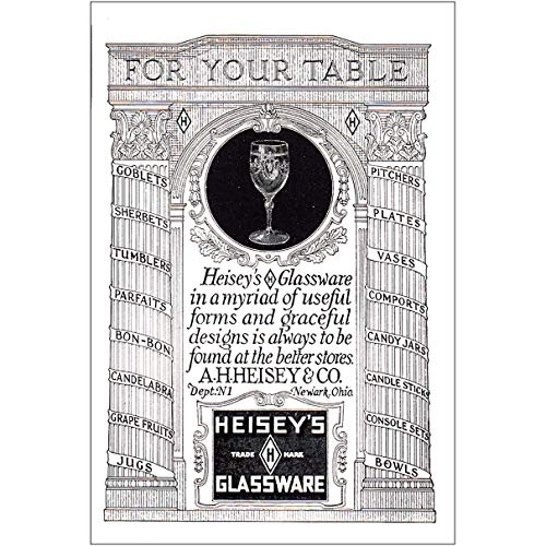RelicPaper 1925 Heiseys Glassware: for Your Table, Heiseys Glassware Print Ad