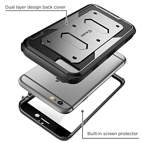 iPhone 6s Plus Case, [Armorbox] i-Blason Builtin [Screen Protector] Heavy Duty Shock Reduction [Bumper] for Apple iPhone 6 Plus 5.5 Inch (Black) by i-Blason (Image #3)