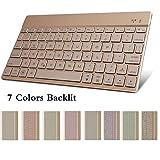 Backlit Bluetooth Keyboard,TechCode Slim Wireless 7 Colors Backlight for Notebook Computer,iPad 9.7/12.9/Air/Air 2/mini/mini2/mini3/mini4/iPad 5 4 3 2, All IOS/Android/Windows System Tablet