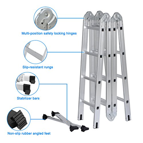 Finether 15.4ft Heavy Duty Multi Purpose Aluminum Folding Extension Ladder with Safety Locking Hinges 330lb Capacity (New Non-slip Mat and Wheels for Free) by Finether (Image #5)
