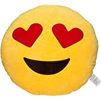 EvZ 32cm Emoji Smiley Emoticon Yellow Round Cushion...