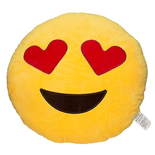 EvZ 32cm Emoji Smiley Emoticon Yellow Round Cushion Stuffed Plush Soft Pillow (Heart Eyes) -