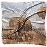 Africa Animals Elephant Family 100% Polyester Silk Feeling Large Square Kerchief Neck Scarf Women Headdress