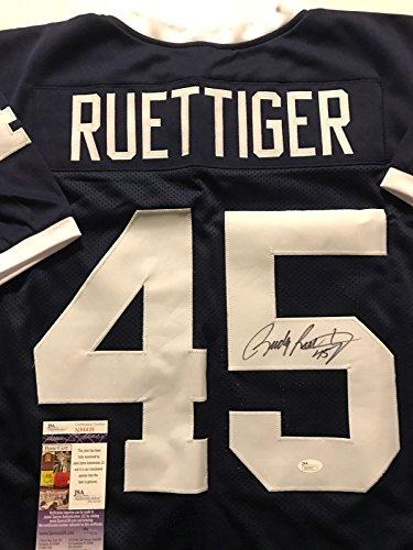 Autographed/Signed Rudy Ruettiger Notre Dame Fighting Irish Blue Football Jersey JSA COA