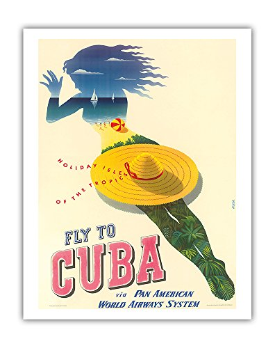 Fly to Cuba - Pan American World Airways System (PAA) - Holiday Isles of the Tropics PAN AM - Vintage Airline Travel Poster by Julius Seyler c.1950 - Fine Art Print - 11in x 14in ()