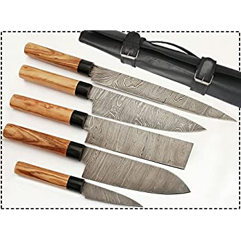 G15  5 Pcs Professional Kitchen Knives Custom Made Damascus Steel 5 Pcs  Professional Chef Kitchen