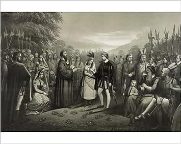 Amazonde Hochwertiger Fotodruck Der Hochzeit Von Pocahontas Mit