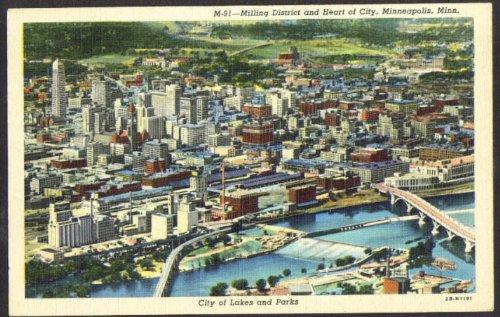 Milling District & Downtown Minenapolis MN postcard - Downtown Mn