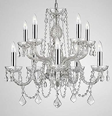 "Empress Crystal (tm) Chandelier Lighting Crystal Chandeliers With Chrome Sleeves H25"" X W24"" 10 LIGHTS!"