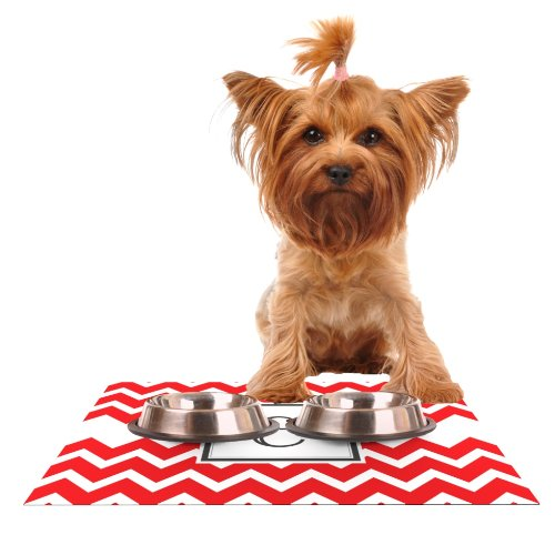KESS InHouse KESS Original Monogram Chevron Red Letter E  Feeding Mat for Pet Bowl, 24 by 15-Inch