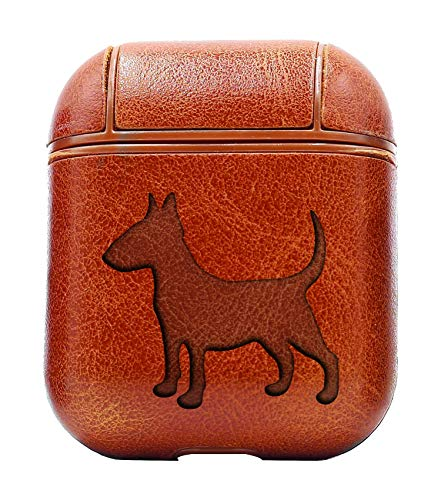 Bull Terrier Silhouette (Vintage Brown) Air Pods Protective Leather Case Cover - a New Class of Luxury to Your AirPods - Premium PU Leather and Handmade exquisitely by Master Craftsmen