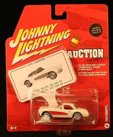 1956 CORVETTE * WHITE * 2005 Auction Insanity Johnny Lightning Die-Cast Vehicle & Bonus Auction Paddle #8 of - 1956 Chevy Corvette