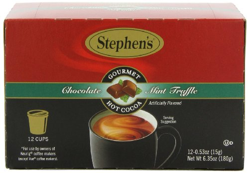 Stephen's Gourmet Single Cup Hot Cocoa, Mint Truffle, 12 Count (Chocolate Mint Hot)