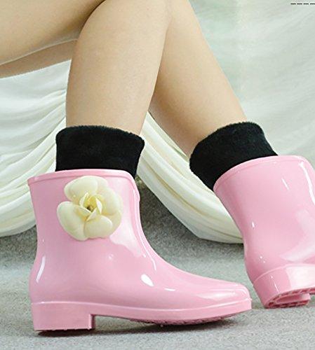 Ankle Gummistiefel warme niedlich hohe Frauen Rainstiefel rosa wasserdicht LvRao Garten Booties agOzEqxw