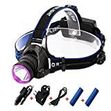 LED Headlamp, Waterproof Rechargeable Headlight Torch Flashlight with 2×18650 Batteries Car Charger USB Cable Plug Charger for Hunting Hiking Camping Fishing Reading Running Cycling