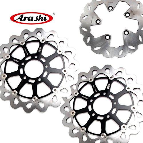 (Arashi Front Rear Brake Disc Rotors for SUZUKI GSXR 1300 Hayabusa 1999-2007 Motorcycle Replacement Accessories GSX-R1300 GSX1300R GSXR1300 Black 2000 2001 2002 2003 2004 2005 2006)