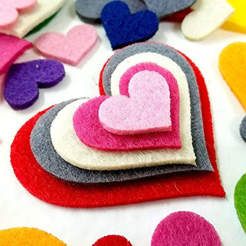 Summer-Ray 1 ounce Mixed Lasercut Felt Hearts Assorted Colors and Sizes