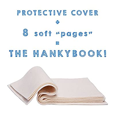 HankyBook Eco Friendly Baby Wipe Book (Set of 3), Compact and Portable With 8 Soft and Absorbent Organic Cotton Pages to Clean Baby Dribbles On-the-go