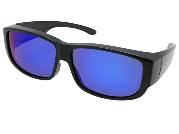 ffb4f659ea47 Amazon.com  Retro Blue Mirror Polarized Fit over Sunglasses For Men and  Women (Black Frame-Blue Mirror Gray Lenses