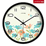 lovely modern metal patio table Znzbzt Simple Creative Mute Wall Clock Creative Flowers Living Room Bedroom Wall Clock Stylish Mute Clock Modern Wall Table Lovely Quartz Clock, 14 inch, Metal Black Box
