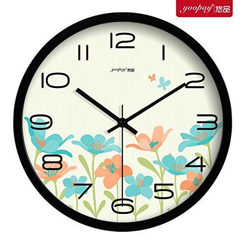 Znzbzt Simple Creative Mute Wall Clock Creative Flowers Living Room Bedroom Wall Clock Stylish Mute Clock Modern Wall Table Lovely Quartz Clock, 14 inch, Metal Black Box