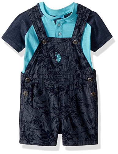U.S. Polo Assn. Baby Boys T-Shirt and Short Set, Teal Blues Coverall Knit Top Multi Plaid, 6-9 Months