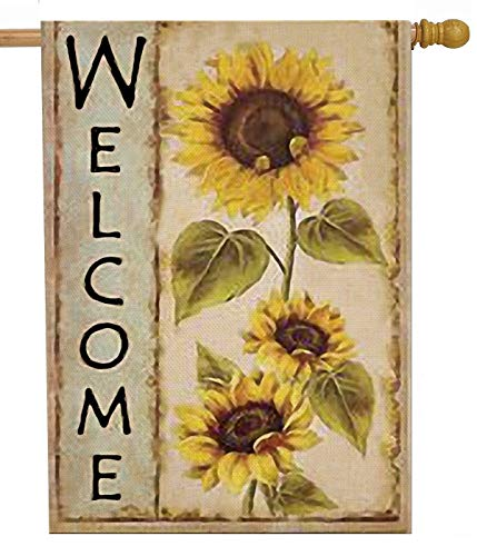 Selmad Welcome Sunflower 28 x 40 House Flag Farm Sunshine Flower Double Sided, Fall Floral Burlap Garden Yard Decoration, Autumn Seasonal Sweet Home Outdoor Vintage Décor Decorative Summer Large Flag