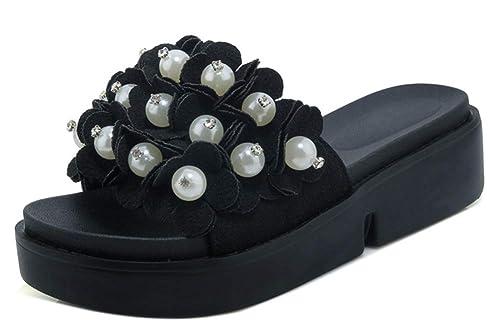 Easemax Femme Elégant Fleurs Chaussure Plate Slip on Mules  Amazon ... ea70228b48a2