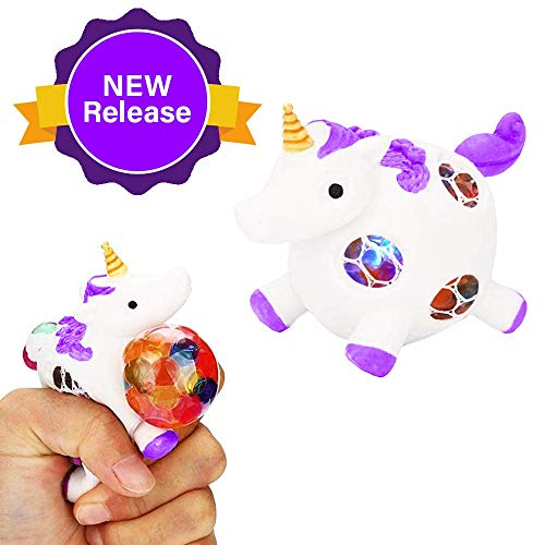 (Squishy Unicorn Anti-Stress Ball - Squeeze Sensory Stretch Fidget Emoji Toy-4 Girls Kids Toddlers - Mesh DNA Grape Ball 4 Brain Stimulation Concentration Relief ADHD Autism Theme Party Gag-Purple)