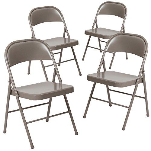 Flash Furniture 4 Pk. HERCULES Series Double Braced Beige Metal Folding - Chair Outdoor Folding Steel