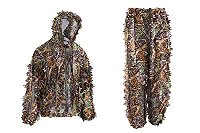 Annay Ghillie Suits Camo Suit 3D Maple Leaves Camouflage Clothing Woodland Army Clothes Sniper Costume Jungle Jacket & Pants for Hunting Shooting Wildlife Photography Airsoft Military Game Medium