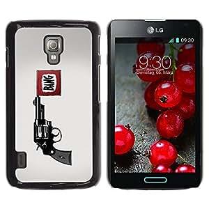 PC/Aluminum Funda Carcasa protectora para LG Optimus L7 II P710 / L7X P714 Bang Pistol Gun / JUSTGO PHONE PROTECTOR