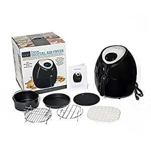 Air Fryer, 5.8 Quart Size, 8-in-1 Digital Screen, with Recipes, and Deluxe Accessory Kit by Yedi Houseware