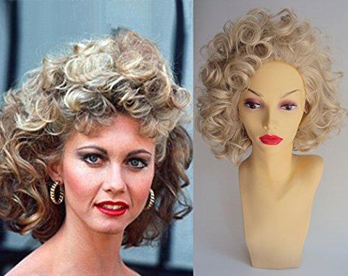 Deluxe Sandy Movie Pink Ladies 1950's Curly Blonde Costume Wig ()