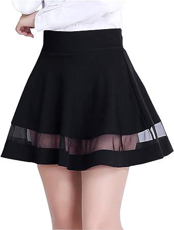 PengGeng Mujer Mini Tulle Empalme Elasticidad Faldas Plisadas ...