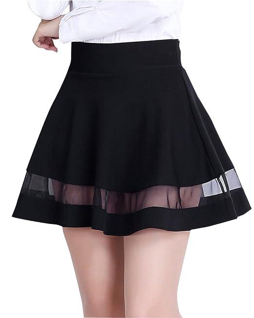 17c85821b Mujer Mini Tulle Empalme Elasticidad Faldas Plisadas Cintura Alta ...