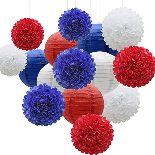 (KAXIXI Hanging Party Decorations Set, 15pcs Navy Blue White Red Paper Flowers Pom Poms Balls and Paper Lanterns for 4th of July Decorations Patriotic Decoration Wedding Birthday Baby)