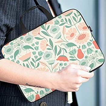 Trendy Laptop Sleeve Pink Flower Green Plant Graphic Tablet Carrying Case Dustproof Neoprene Fabric Laptop Sleeve Tablet Accessory White 13inch