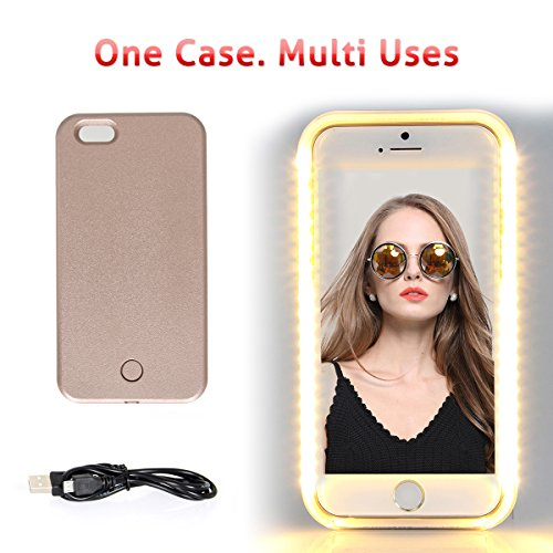 iPhone 6 6s LED Night Light case, Walnut LED Lighting Selfie Cover Fab for Selfies/Applying Make-Up/Flashlight/Videos/Facetime, Protects Phone & includes Charger For iPhone 6/6S-Rose Gold (Crazy Iphone 5 Charger)