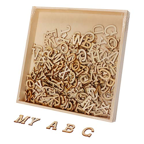 (Joy-Leo 0.8 Inch Small Wooden Craft Alphabet Letters Wood Cutouts with Storage Tray(234pcs/Capital A to Z), Wood Letters Cutouts for Sign Crafts & Wall Room Décor& Decorative Signs &Party)