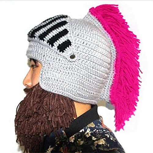 (BIBITIME Cosplay Roman Knight Knitted Helmet with Beard Tassel Hat Visor Beanie Mask Winter Ski Sports Warmer Cap (Grey Hat Rose Tassel, One Size) )