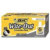 BIC WOFQD12WE Wite-Out Quick Dry Correction Fluid, 20 ml Bottle, White, 1/Dozen