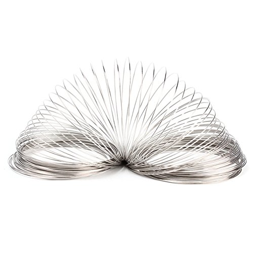Silver Wire Loops - 100 Loops Silver Round Plated Memory Beading Steel Wire For DIY Cuff Bangle Bracelet Jewelry DIY Craft Supplies 0.6mm ()