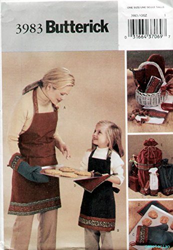 (Butterick Sewing Pattern 3983 - Use to Make - Christmas Hostess Accessories - Aprons (Child & Adult), Oven Mitts, Pot Holders, Gift Bags (3 Sizes))