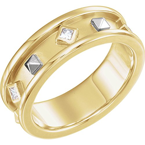 (14K Yellow & White 1/6 CTW Diamond Etruscan Band Size 7.5)