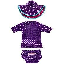 RuffleButts Infant / Toddler Girls Grape Polka Dot Ruffled Rash Guard & Hat Set