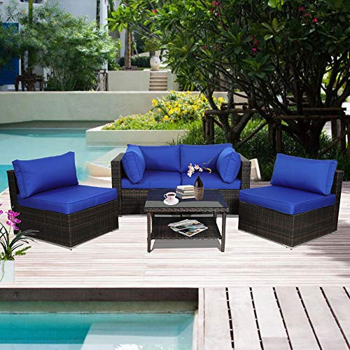 Patio Furniture Garden Rattan Sofa 5-Piece Outdoor Sectional Couch Brown Rattan Royal Blue Cushion